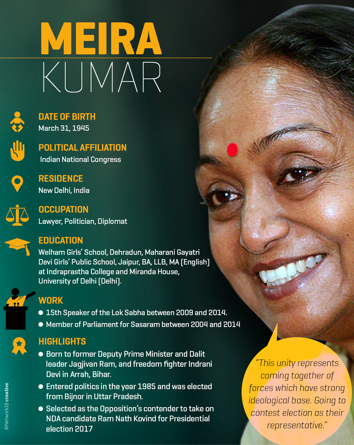 Here's all you need to know about Meira Kumar, the Opposition's Presidential candidate.