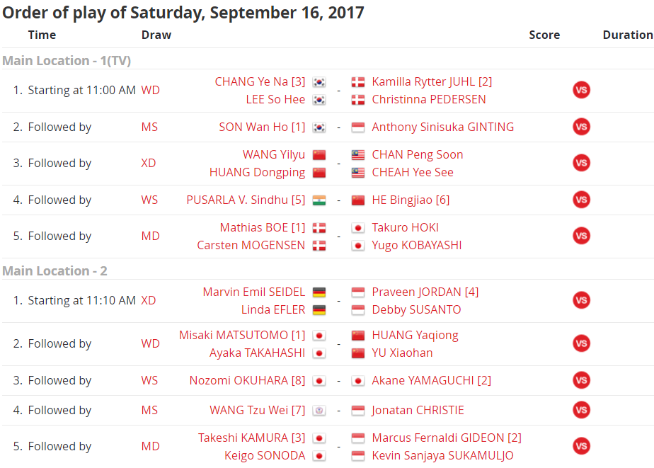 18:18 Here's tomorrow's schedule at the Korea Open Superseries