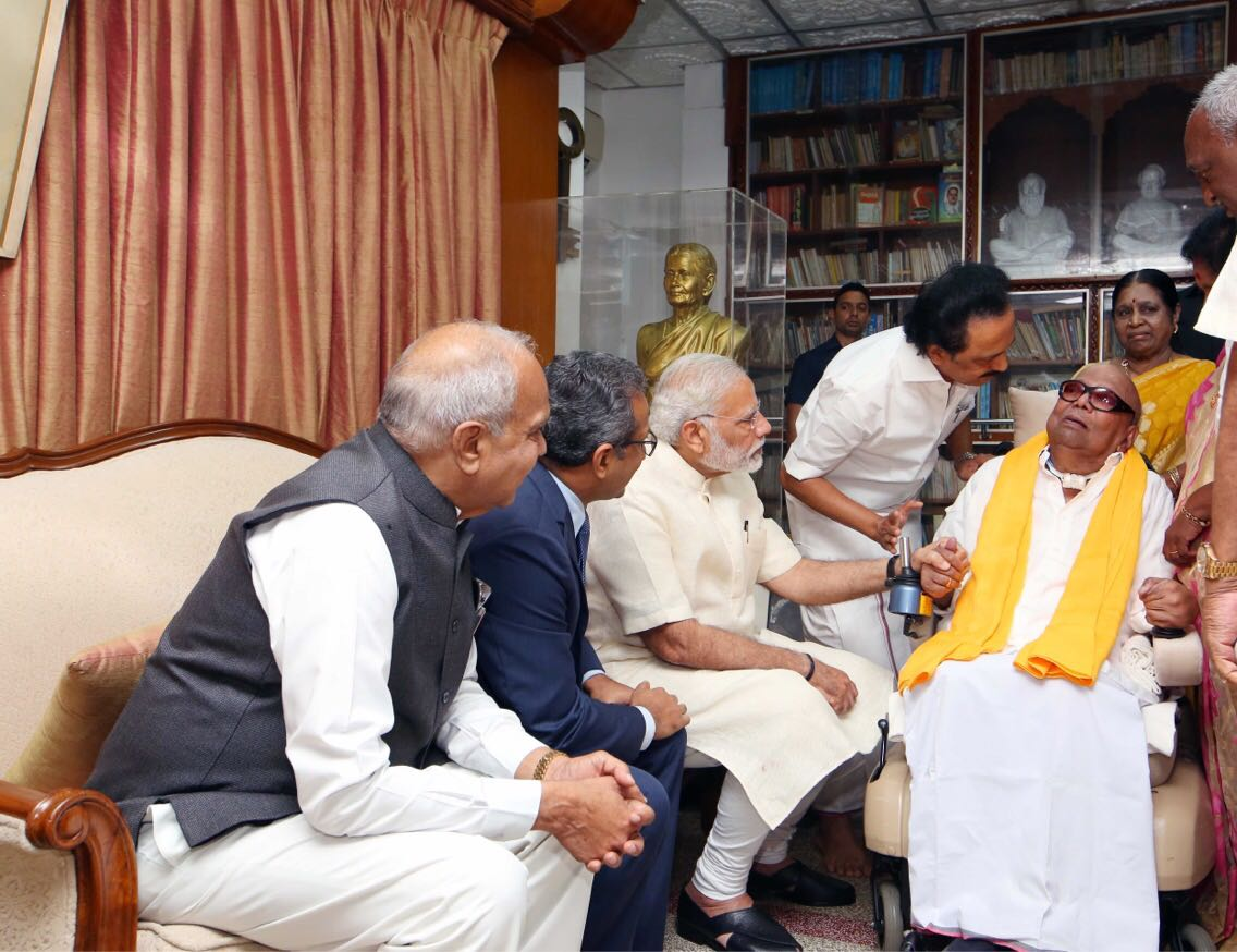 Modi makes surprise visit to Karunanidhi's home