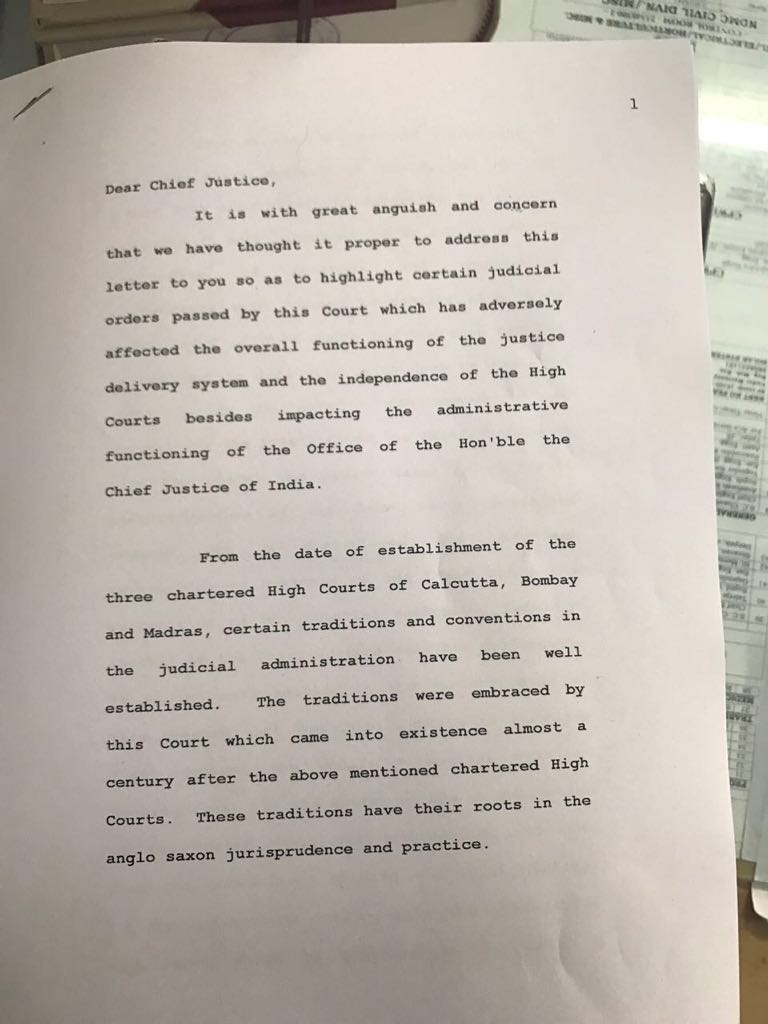 First page of the letter written by the 4 Supreme Court judges to CJI.