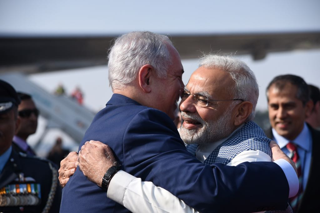 S Benjamin Netanyahu arrives in New Delhi for six-day visit Narendra Modi receives Israeli PM at airport