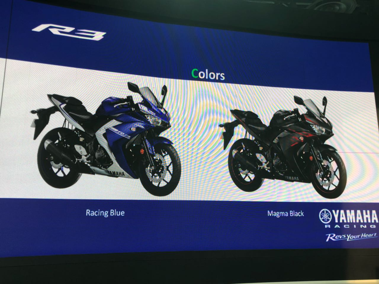 <p>Here are the colour options for the Yamaha R3</p>