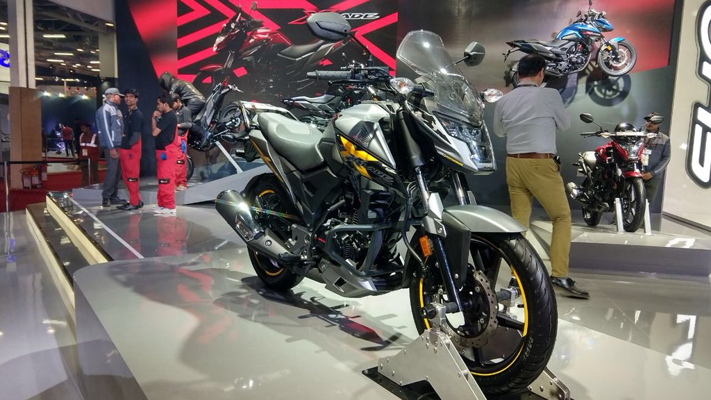 "<p>A customised version of the Honda X Blade 160cc motorcycle at the Auto Expo 2018. <a href=""http://overdrive.in/videos/honda-x-blade-auto-expo-2018/"">Watch a walkaround with Honda X Blade here.</a></p>"