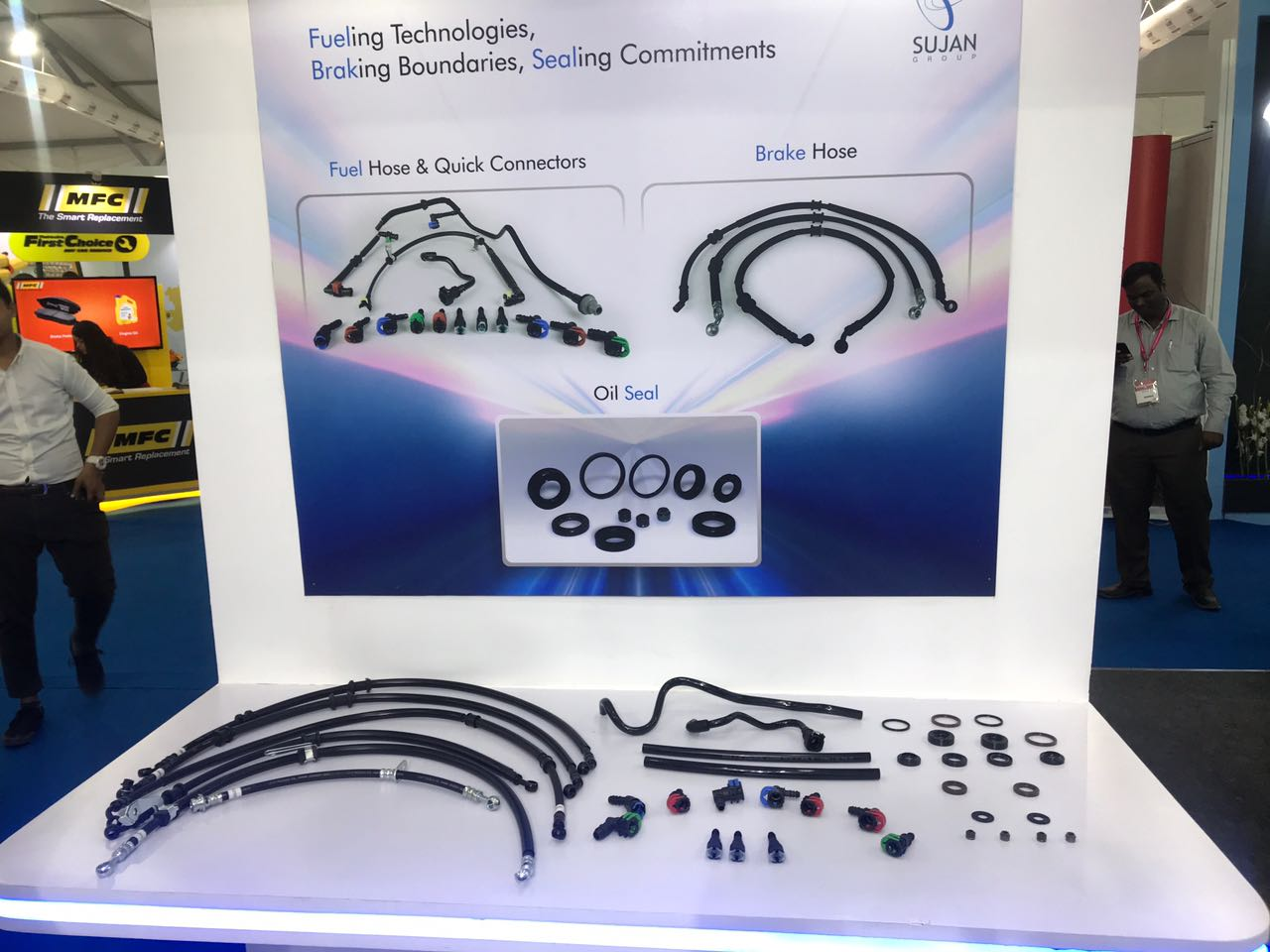 <p>Sujan group has also displayed a BS6 compliant oil seal, fuel hose and quick connectors. Takes care of high pressure fuel injection.</p>