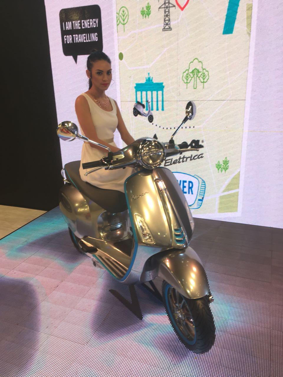 <p>The Vespa Elettrica scooter at the Piaggio stall at the Auto Expo 2018, Hall no. 2, stand no. E-40</p>