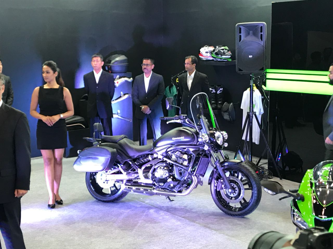 <p>Kawasaki showcases the fully loaded version of its recently launched Vulcan S with panniers and a front screen</p>