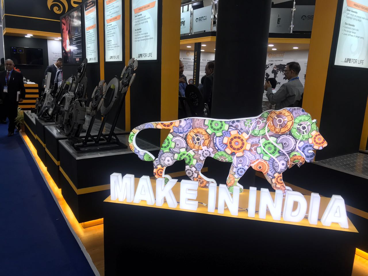 <p>Make In India offerings by Setco Automotive on display at the components show</p>