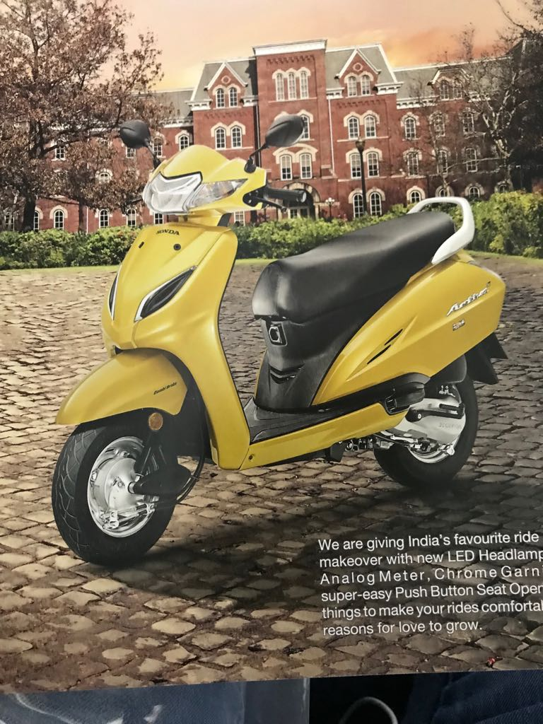 <p>The Honda Activa 5G. Activa gets LED headlight, digital-analogue console and push button seat opener</p>