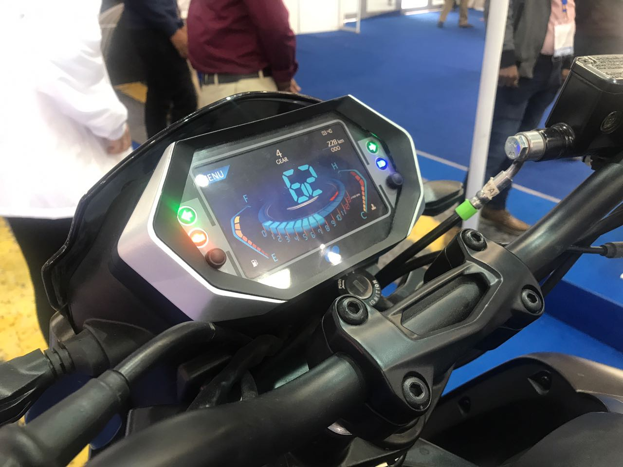 <p>TFT cluster (not production ready) that offers info on navigation, music, phone and also digital display of motorcycle info.</p>