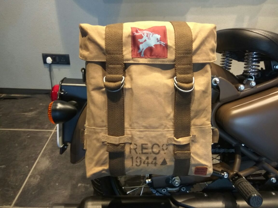 <p>The #Classic500Pegasus gets specially designed, period correct, canvas panniers.</p>