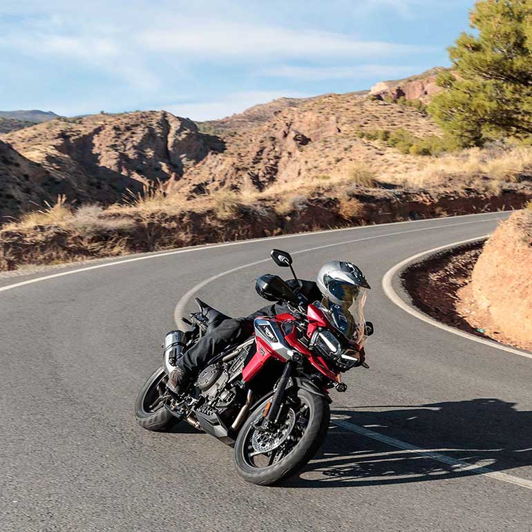 <p>The Tiger 1200's 1,215cc, liquid-cooled, inline three-cylinder engine produces 141PS – which Triumph claims is the highest in its class for a shaft-driven motorcycle – along with 122Nm.</p>