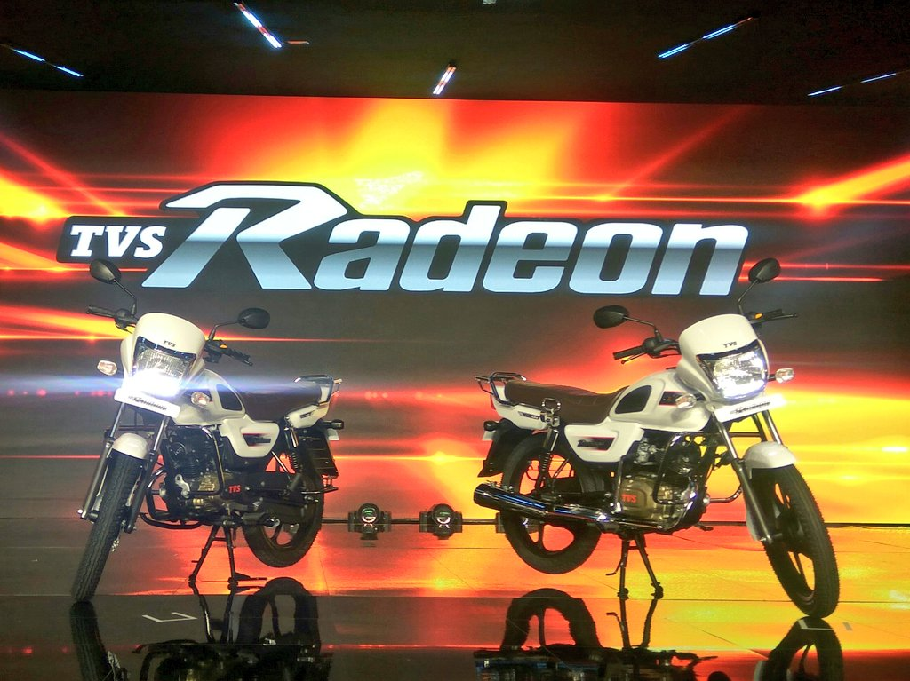 <p>And here is the new 110cc commuter motorcycle from @TVSMotor. The #Radeon</p>