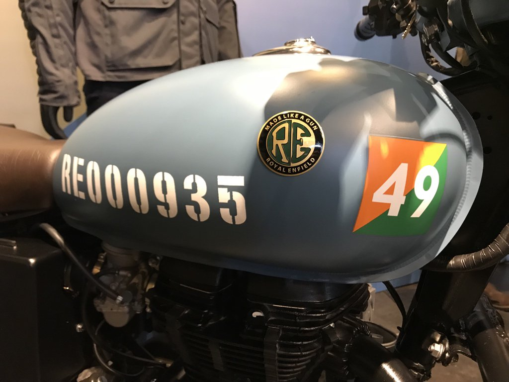 <p>Each motorcycle gets a unique stencilled number on the tank</p>