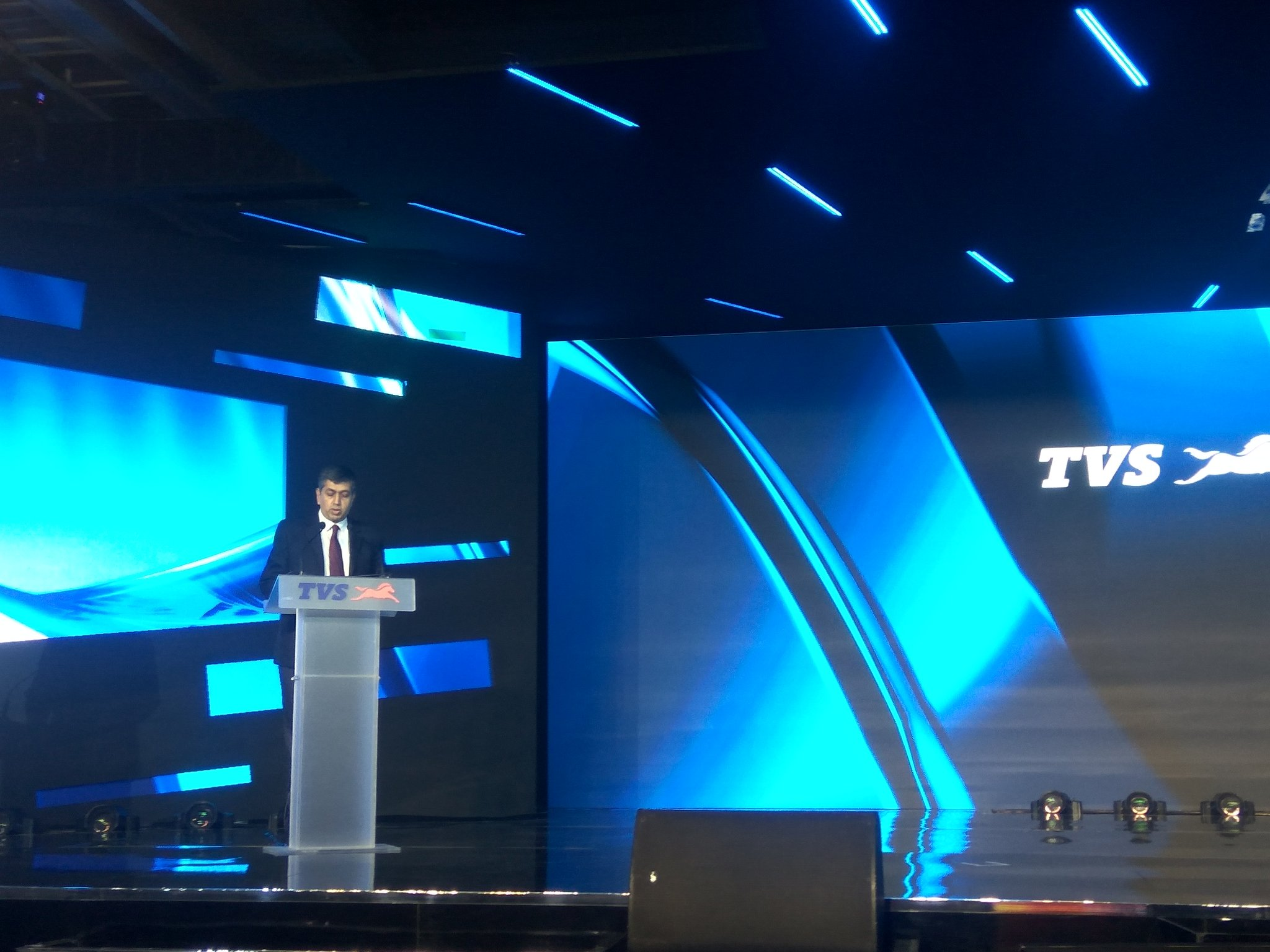 <p>KN Radhakrishnan, president and CEO, @tvsmotorcompany is on stage to talk about the new commuter motorcycle</p>