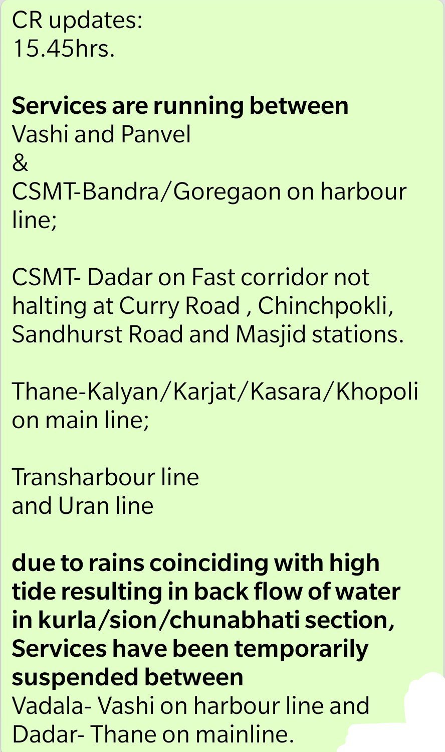 Mumbai rains LIVE: Rainfall intensity likely to continue for next 24