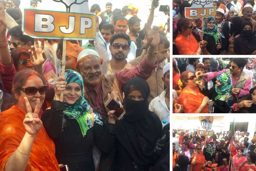 Image result for BJP Win pictures Muslim Celebration
