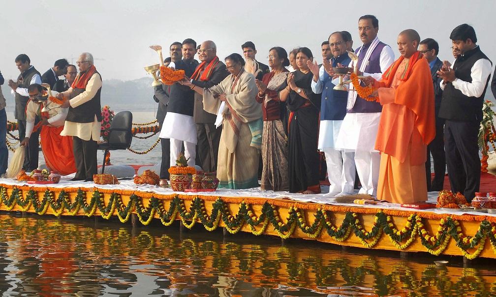 Allahabad:  President Ram Nath Kovind along with his wife Savita Kovind, Uttar Pradesh Chief Minister Yogi Adityanath, visit Triveni Sangam at Allahabad on Saturday. PTI
