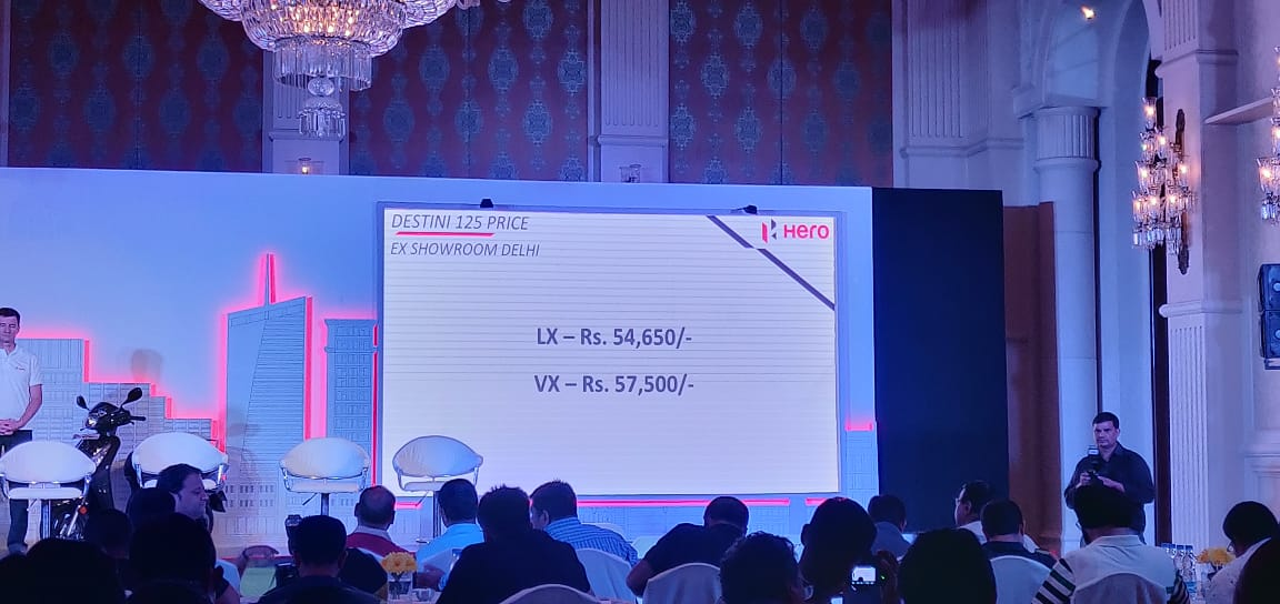 """<p>2018 Hero Destini 125 scooter launched in India at Rs 54,650 for the LX variant. The VX variant is priced at Rs 57,500. Prices ex-shoowroom delhi.</p>  <p><a href=""""http://overdrive.in/news/2018-hero-destini-125-scooter-launched-in-india-at-rs-54650/"""">Read our launch article here</a></p>"""