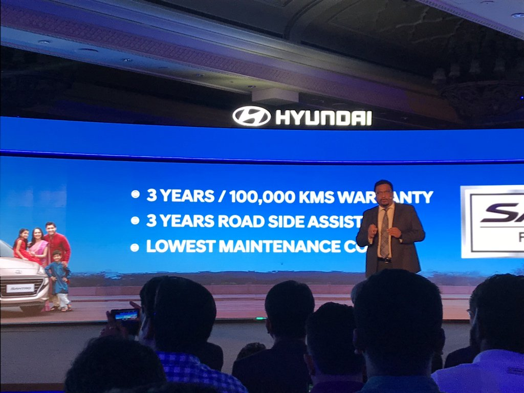 <p>The new Hyundai Santro comes with a 3-year, 1,00,000km warranty and 3-year roadside assistance program.</p>