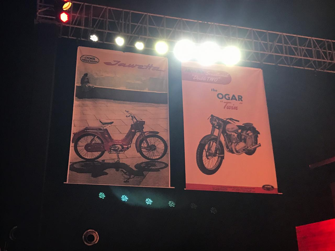 <p>Some of the posters of old Jawa&nbsp;Motorcycles on display at the launch event here to evoke nostalgia.&nbsp;</p>