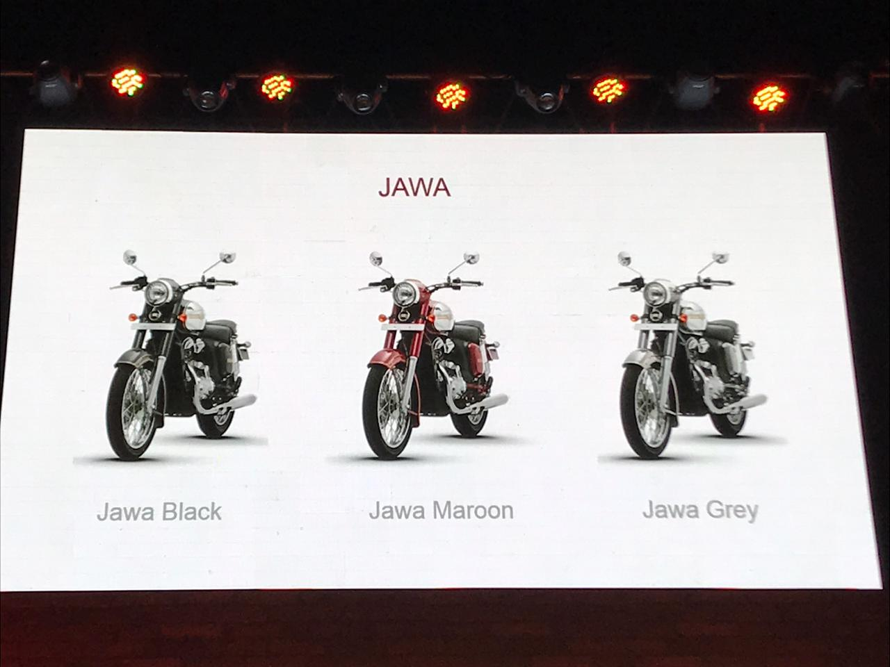 <p>The jawa&nbsp;will come in three colours, black, maroon and grey</p>