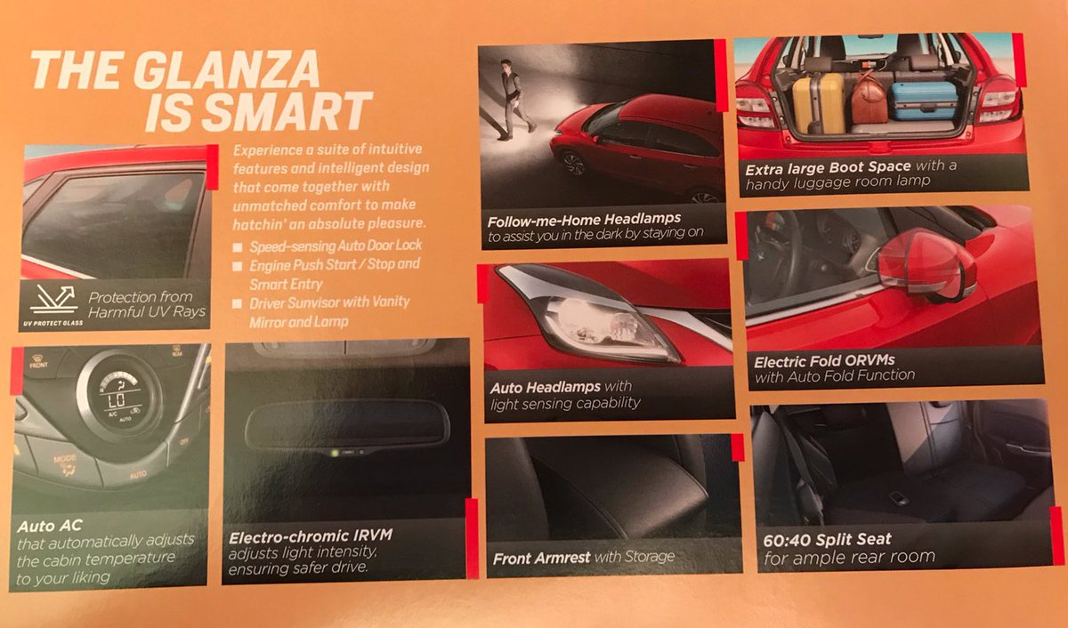 <p>Here&rsquo;s a look at some of the features that will be offered in the Toyota Glanza.</p>
