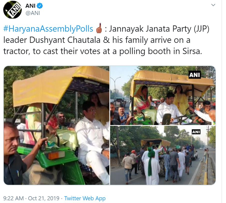 JJP's Dushyant Chautala, family arrive on a tractor## JJP's Dushyant Chautala, family arrive on a tractor  