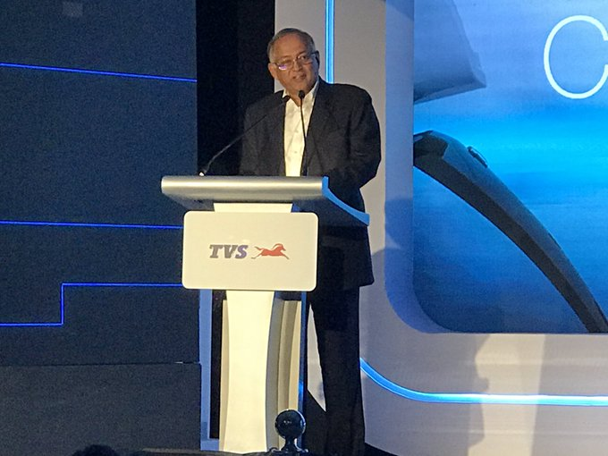<p>Venu Srinivasan, Chairman, TVS Motor Company&nbsp;&nbsp;takes the stage and begins the launch ceremony of their first ever EV two-wheeler.</p>