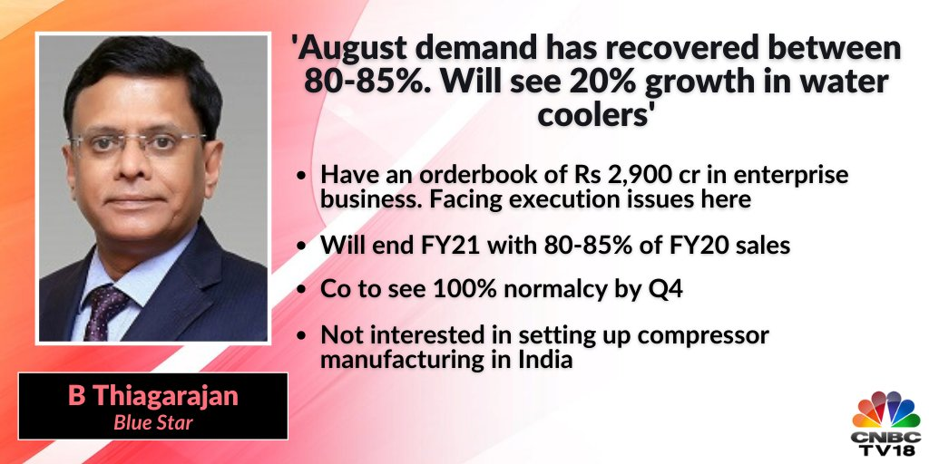 Blue Star  | B Thiagarajan of Blue Star says that the company will end FY21 with 80-85 percentof FY20 sales. He expects to company to see 100 percent normalcy by Q4.