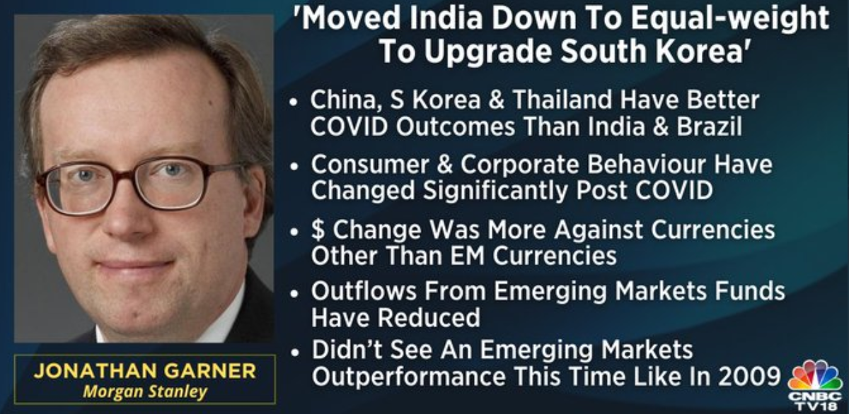 Morgan Stanley's Jonathan Garner joins us on CNBC-TV18, says outflows from emerging markets have reduced now