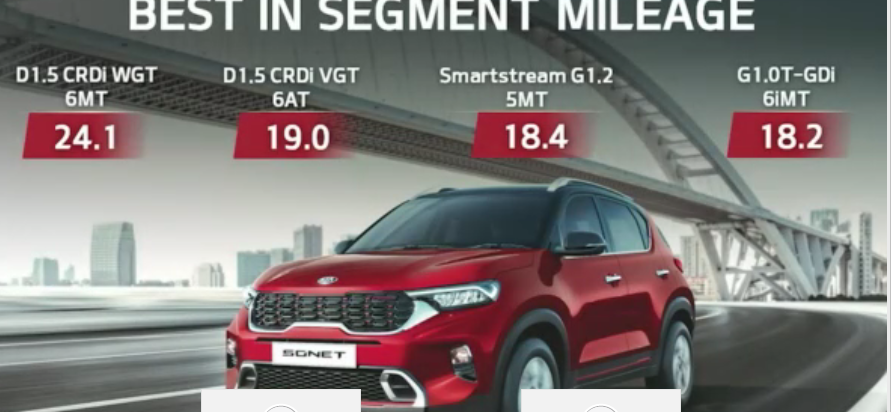 <p>Here are the fuel efficiency figures of the Kia Sonet</p>