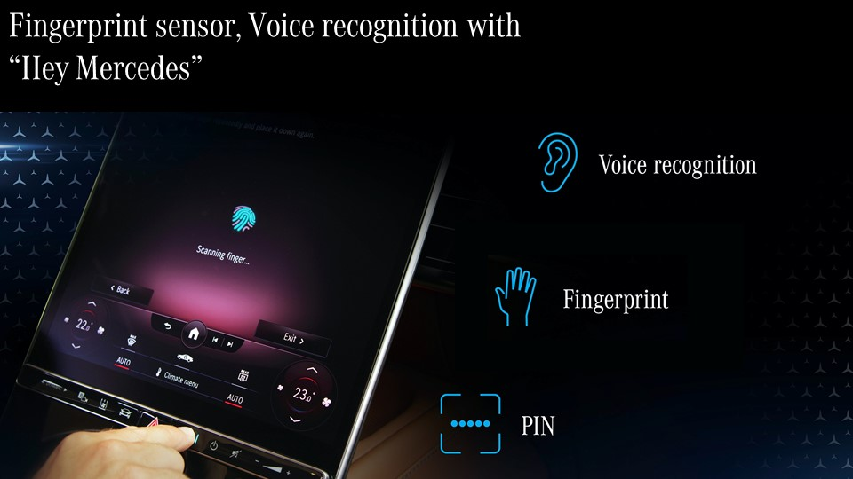 <p>A host of security features including fingerprint recognition, voice recognition on the new S-Class.</p>