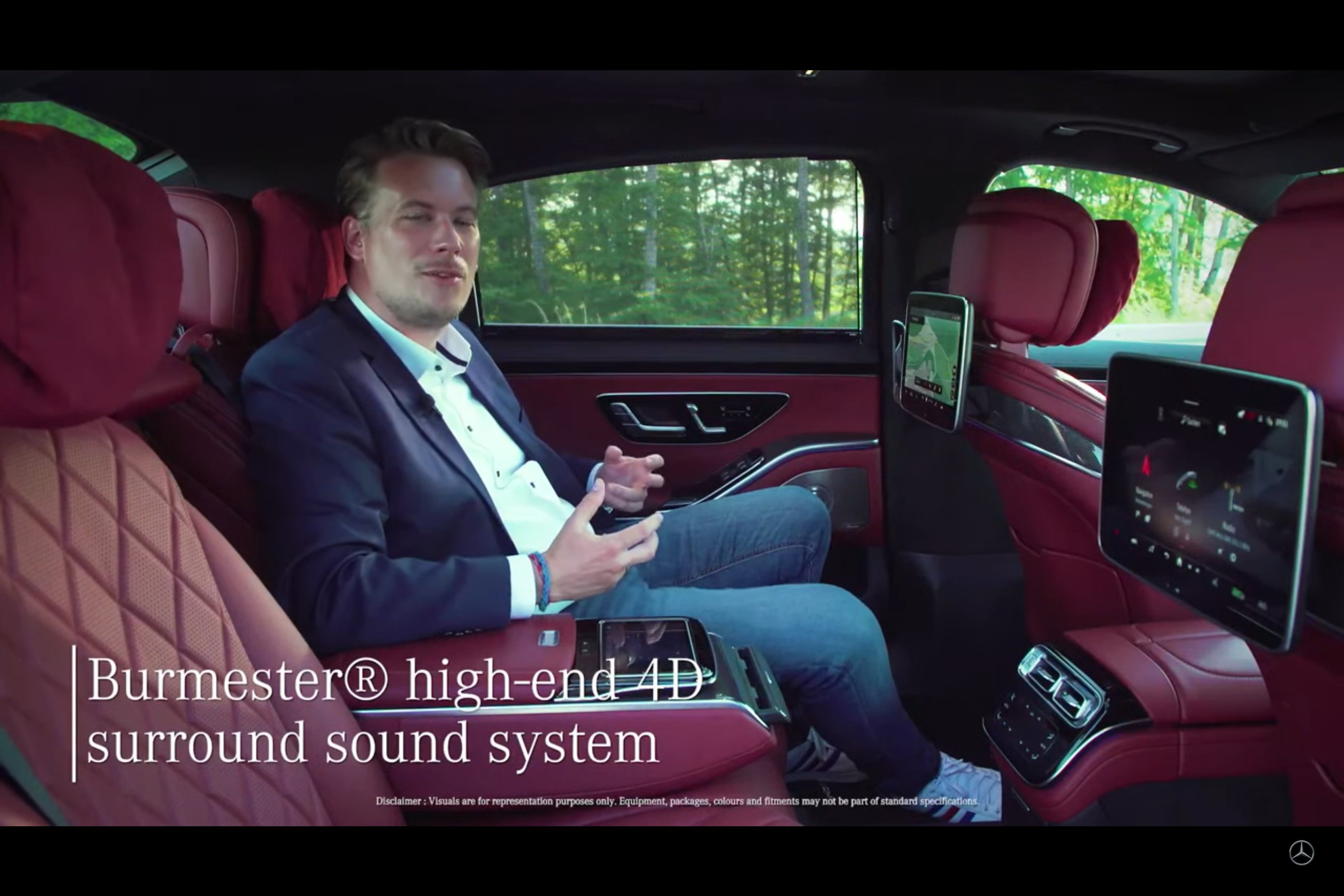 <p>Front and rear access to the very simple to use MBUX system on the new Mercedes-Benz S-Class. Also gets a feature that lets sound massage you, from that Burmester 4D surround sound system, something to experience.&nbsp;</p>